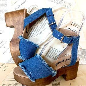 Free People blue Denim Frayed Strap Sandal Clog 40